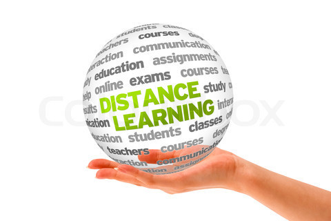 Hand holding a 3d Distance Learning Sphere on white background.